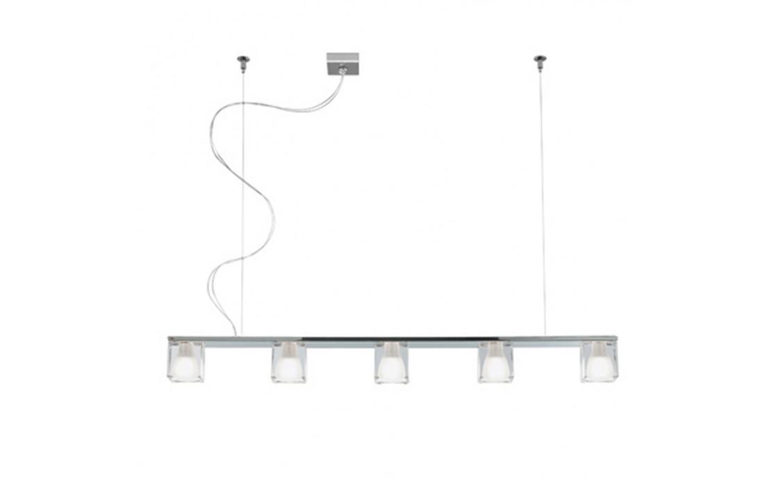 Lampadario 5 luci in vetro - Cubetto