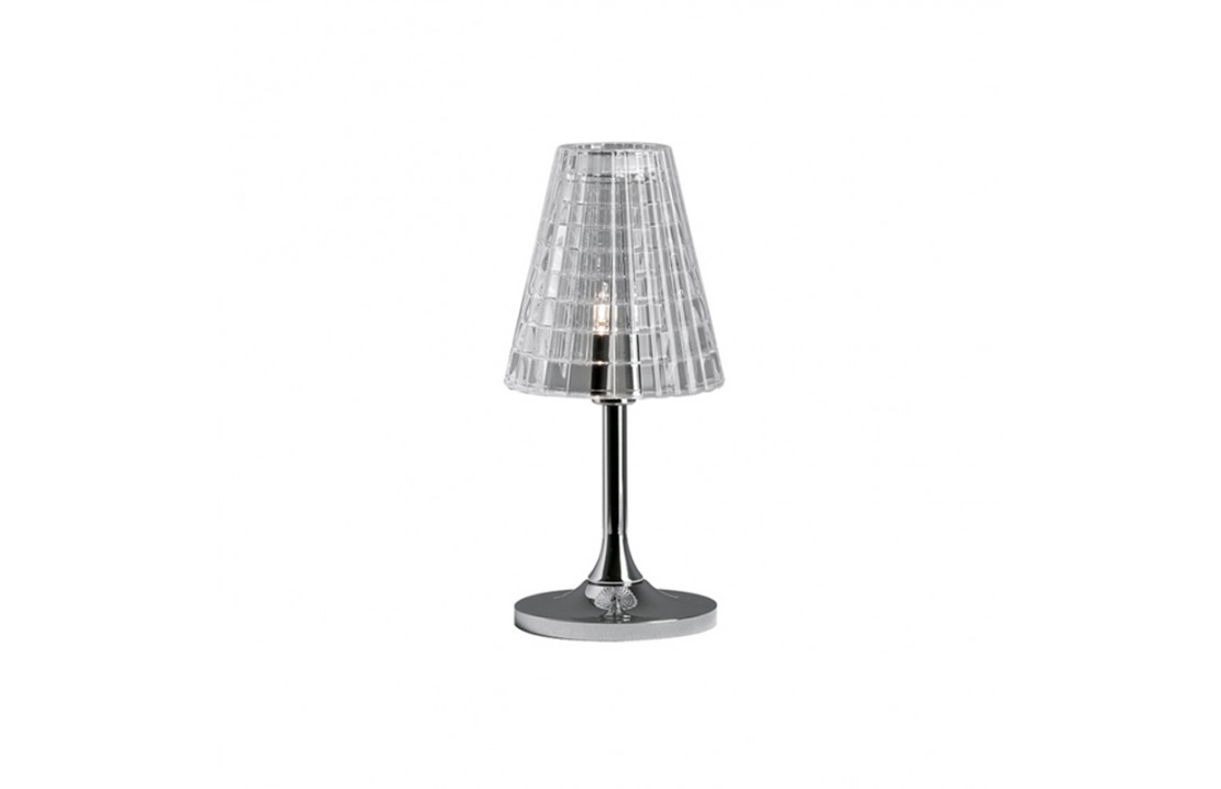 Flow table lamp in crystal and metal