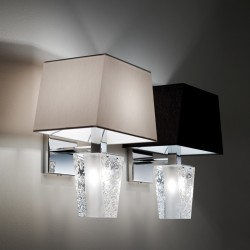 Wall Lamp in crystal and fabric - Vicky