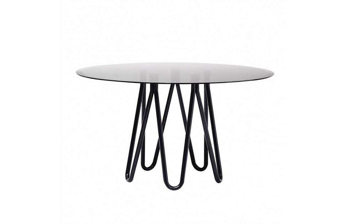 Meduse round table in metal and glass