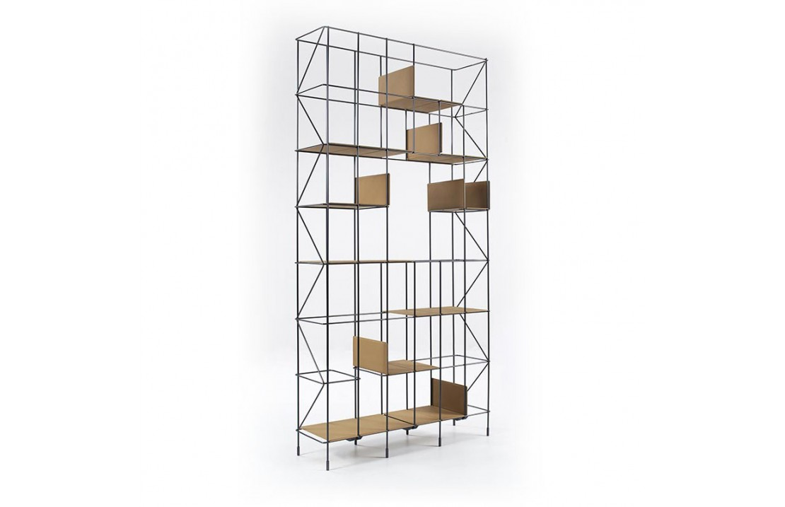 Network metal bookcase and eco-leather shelves