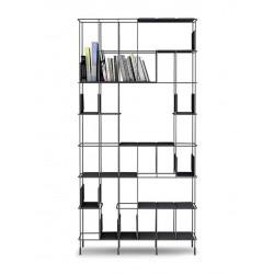 Network libreria in metallo e ripiani in ecopelle