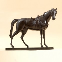 Bronze and marble statue Saddled Horse