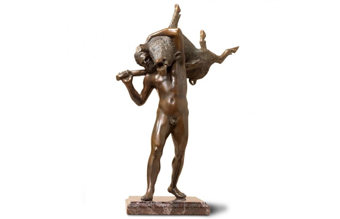 Statua in bronzo e marmo - Ercole con Cinghiale