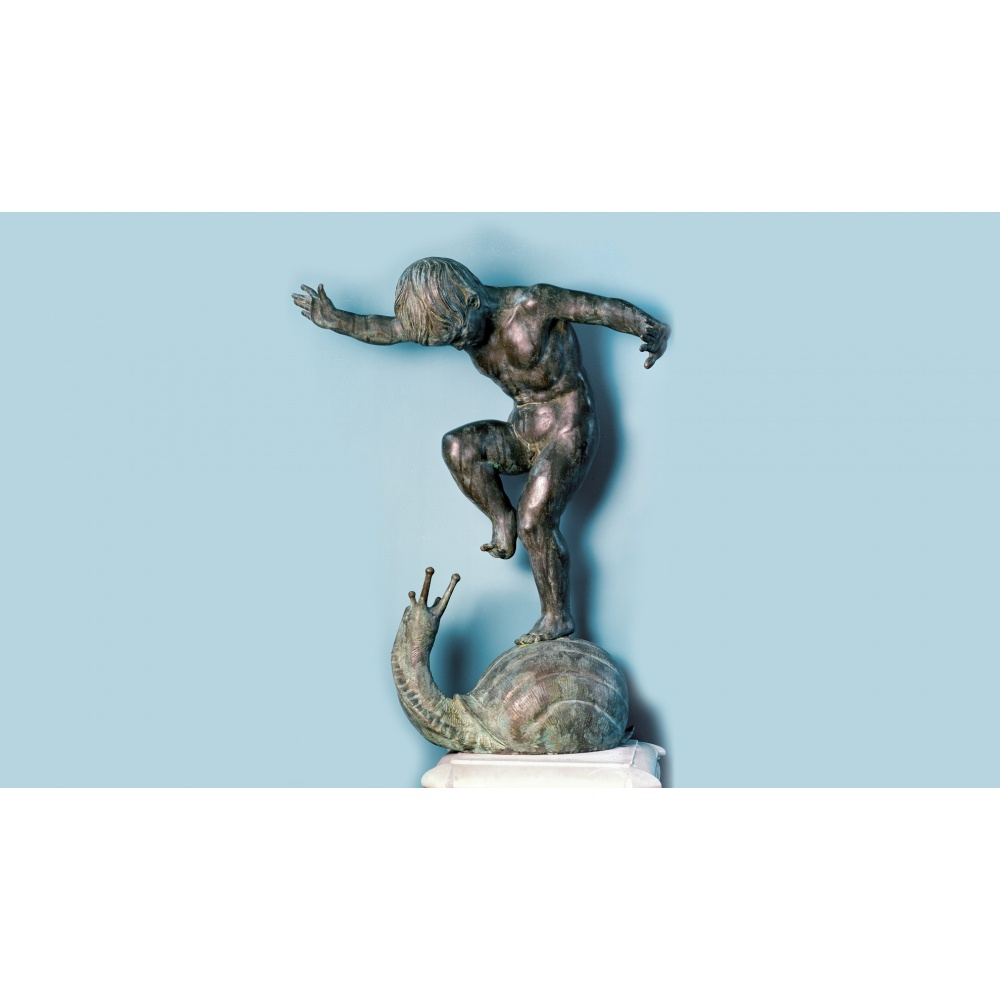 PUTTO ON A SNAIL, ORIGINAL BY THE SCULPTOR GIOVANNI CAPPELLETTI.