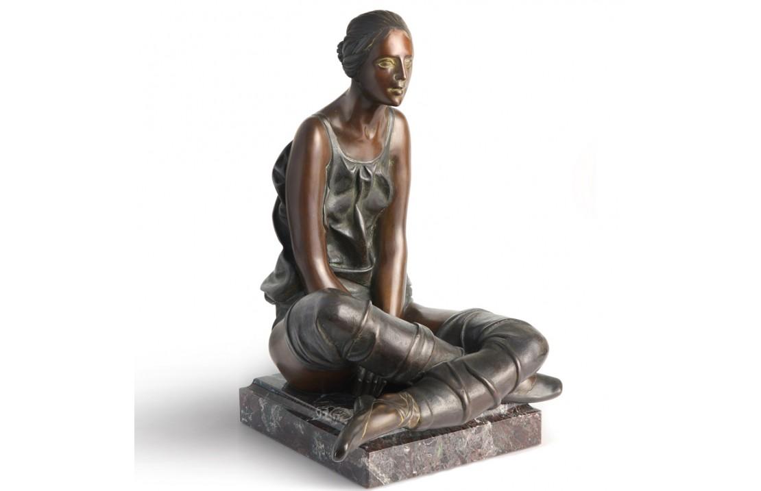 Resting Ballerina bronze and marble sculpture