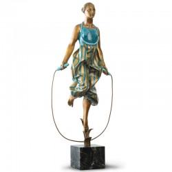 Statua in bronzo e marmo - Ballerina con corda