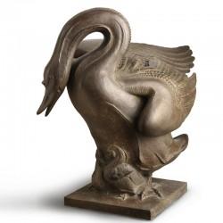 Swan with Signets bronze sculpture