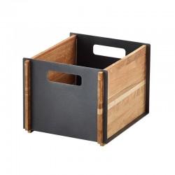 Contenitore portaoggetti in teak e alluminio - Box