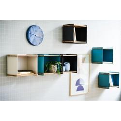 Contenitore portaoggetti in teak e alluminio - Box wall