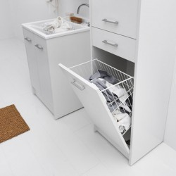 Cabinet with laundry basket, door and drawer - Domestica