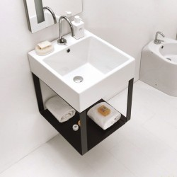 Bathroom cabinet with ceramic basin and metal base - Volant