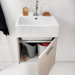 Volant wall hung cabinet with 1 door and ceramic basin