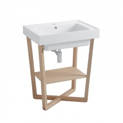 Ceramic washbasin with ash wood base - Trix