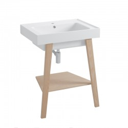 Trix ceramic washbasin with ash wood feet