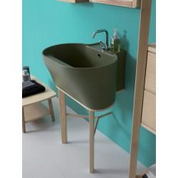 Tino ceramic washbasin with ash wood feet