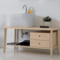 Tino ash wood cabinet with ceramic washbasin