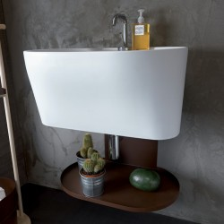 Tino ceramic washbasin with wall-hung structure metal