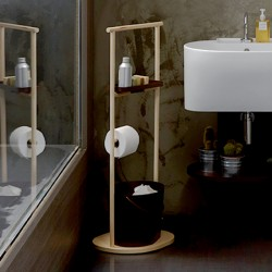 Tino bathroom rack in ash wood and metal corten