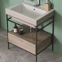 Mobile lavabo con struttura in acciaio e cassetto - Trix