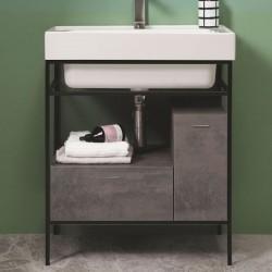 Lavabo Bagno con struttura in metallo, cassetto e anta - Trix