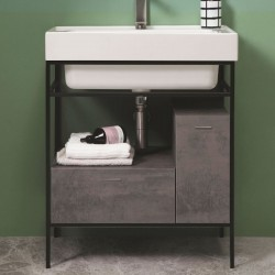 Trix washbasin with metal structure, 1 drawer and 1 door