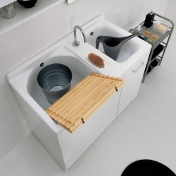 Cabinet double washtub with static or dynamic washing system -