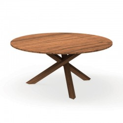 Round outdoor table in wood mahogany - Bridge