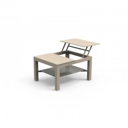 Opening coffee table for outdoor in aluminium and tempered