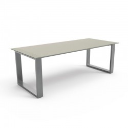 Outdoor dining table in steel and tempered glass - Essence