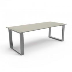 Tavolo per esterno in acciaio e vetro - Essence