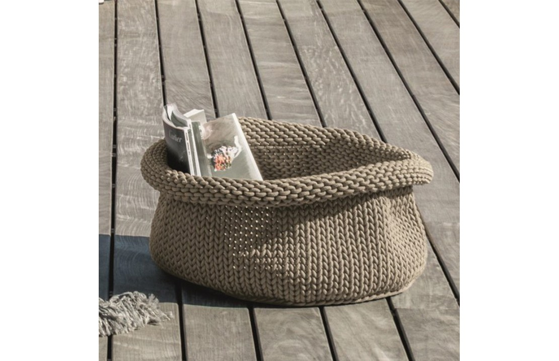 Outdoor storage basket in hand-woven rope - Jackie