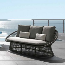 Outdoor sofa in aluminium and interlacement rope - Rope