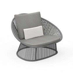 Outdoor armchair in aluminium and interlacement rope - Rope
