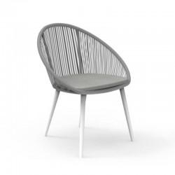 Sedia impilabile da esterno in alluminio e corda intrecciata -