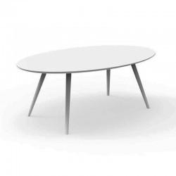 Outdoor oval dining table with glass top - Rope