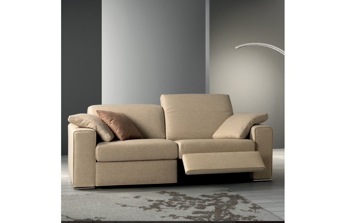 One padded sofa with reclining headrest and relax mechanism