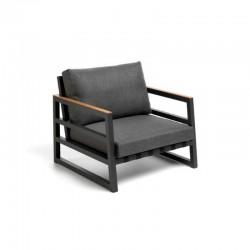 Outdoor armchair in aluminium with teak details - Alabama