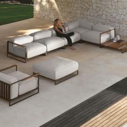 Modular outdoor sofa in steel and fabric - Casilda