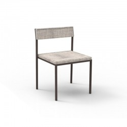 Stackable outdoor chair in steel and fabric - Casilda