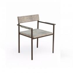Stackable outdoor armchair in steel and fabric - Casilda
