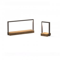 Table lamp in steel and iroko wood - Casilda