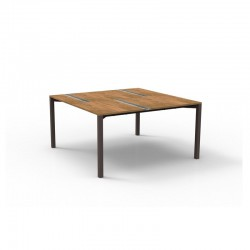 Outdoor square table in wood and travertine - Casilda