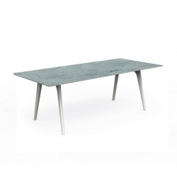 Outdoor dining table in aluminium with cement top - Cleo