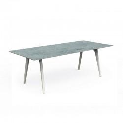 Tavolo da pranzo in alluminio con top in cemento - Cleo