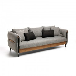 Outdoor fabric sofa with teak details - Domino