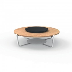 Outdoor round coffee table in aluminium and marble - Domino