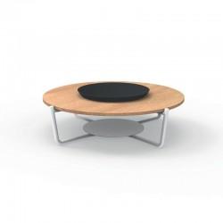 Tavolino tondo da esterno in marmo e alluminio - Domino