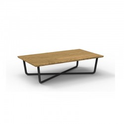Outdoor rectangular coffee table with teak top - Domino