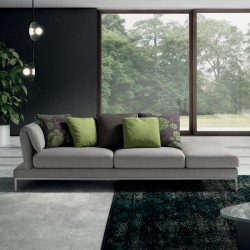 Padded sofa with adjustable backrest and armrests - Upper Twist